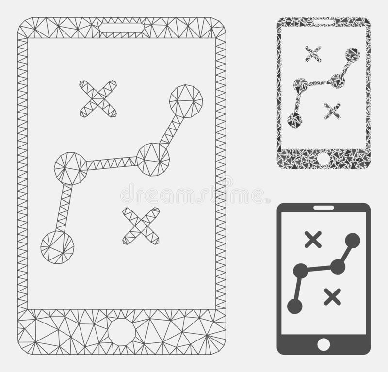 Mobile Navigation Route Vector Mesh Network Model and Triangle Mosaic Icon. Mesh mobile navigation route model with triangle mosaic icon. Wire frame triangular vector illustration