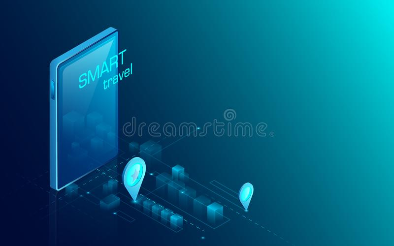 Mobile navigation system with city map. Flat and isometric style design. Illustration vector stock illustration