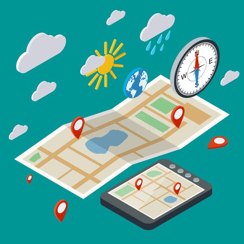 Mobile navigation, transportation, logistics concept stock illustration