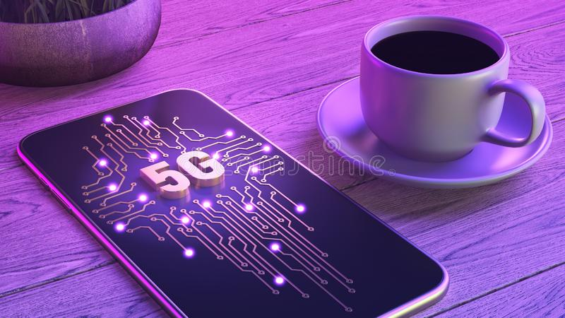 Mobile network of new generation 5g concept. The smartphone is lying on a wooden table, next to a cup of aromatic coffee. Neon vector illustration