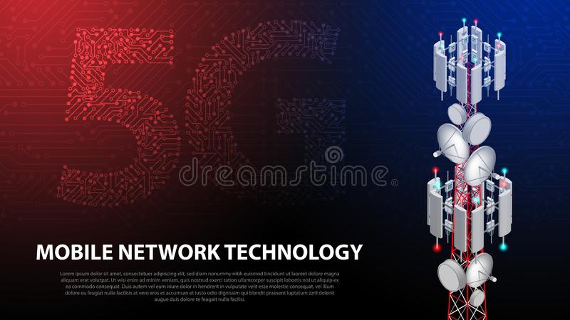 Mobile network technology 5G communication tower background. Mobile network technology 5G communication tower for wireless hi-speed internet with circuit board royalty free illustration