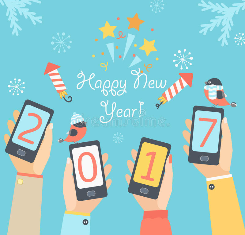 Mobile New Year 2017. vector illustration