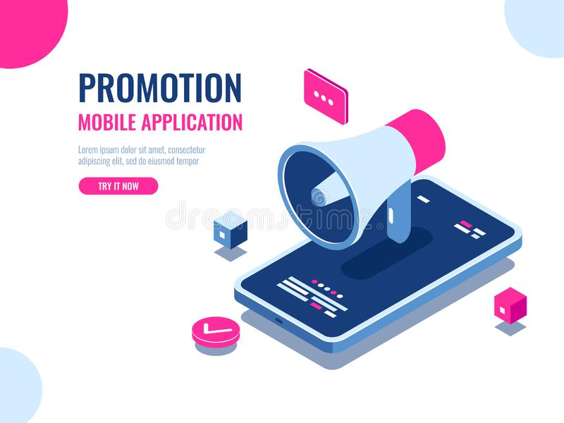 Mobile notification, loudspeaker, mobile application advertising and promotion, digital PR management, cartoon isomeric. Flat vector stock illustration