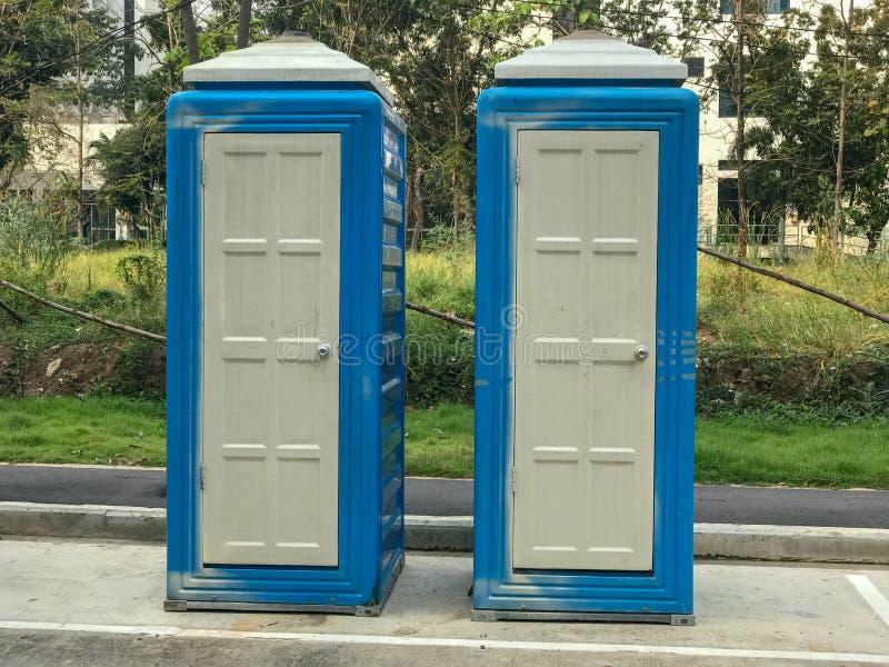 Mobile- oder ToilettenBaustelle stockfoto