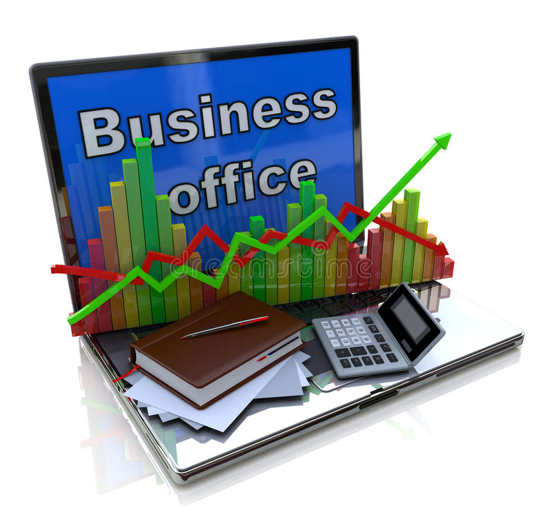 Mobile office, accounting, financial development and banking business concept royalty free stock image