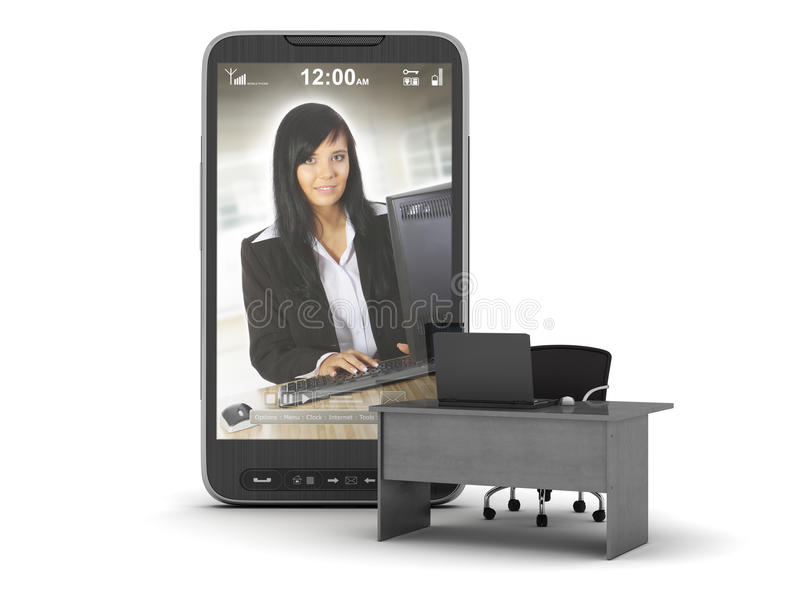 Mobile office - concept illustration. Cell phone, desk and chair on white background royalty free stock photos