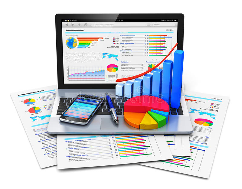 Mobile office work concept. Mobile office work, stock exchange market trading, statistics accounting, development and banking business concept: modern laptop or