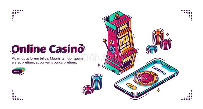 Mobile online casino for smartphone. Mobile online casino. Vector isometric background with gambling chips, slot machine and roulette wheel on smartphone screen royalty free illustration
