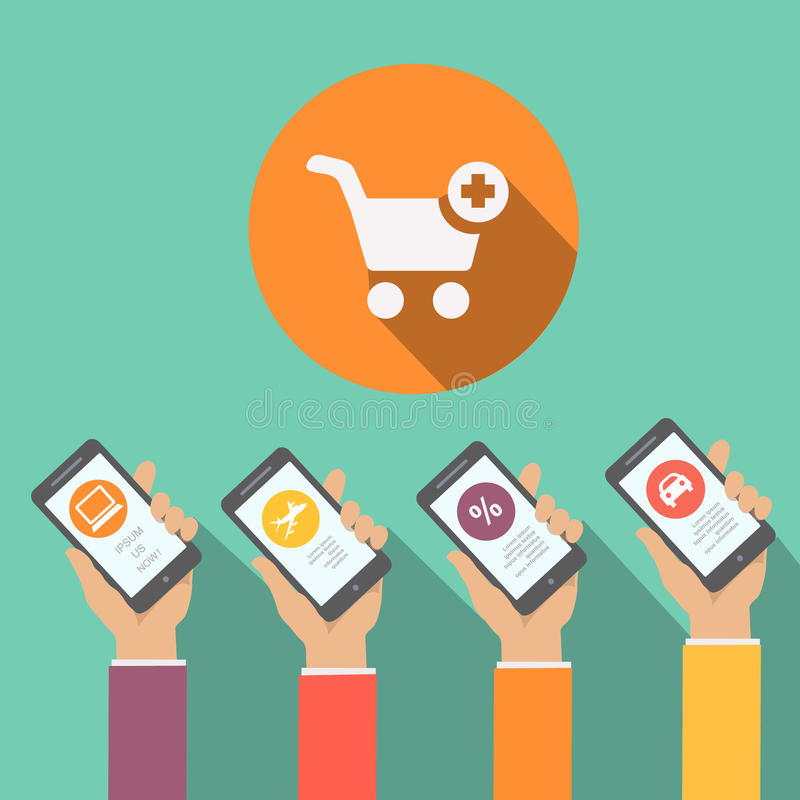 Mobile online shopping apps in flat design, hands holding smartphones with circular icons car computer sale. Mobile online shopping apps in flat design, hands royalty free illustration