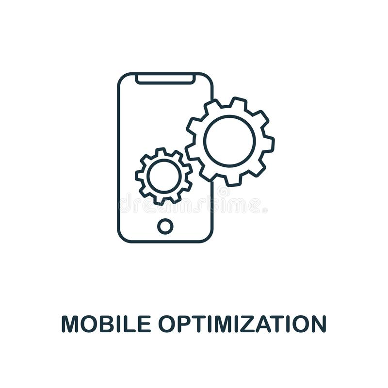 Mobile Optimization creative icon. Simple element illustration. Mobile Optimization concept symbol design from seo collection. Per. Fect for web design, apps stock illustration