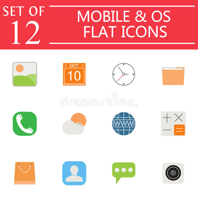 Mobile and OS flat icon set, symbols collection vector illustration