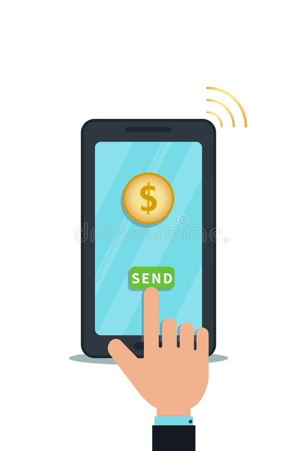 Mobile payment app with digital wallet. Money transfer. Bank transaction. Flat design of smartphone with gold coin on touch screen stock illustration