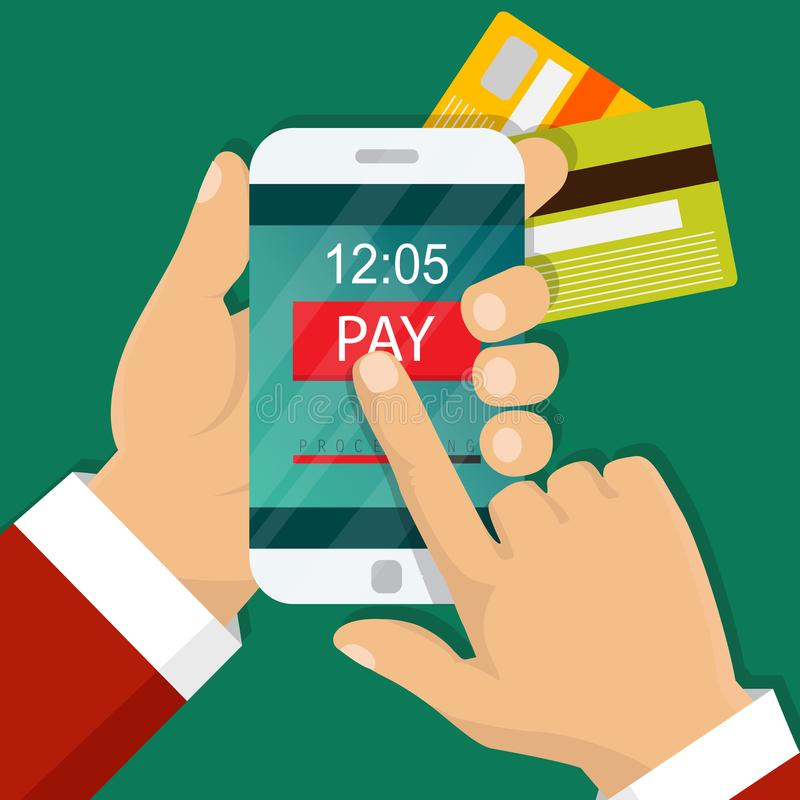 Mobile payment concept. Hand holding a phone. Smartphone wireless money transfer. Flat design. Vector illustration. Vector illustration. Mobile payment concept stock illustration