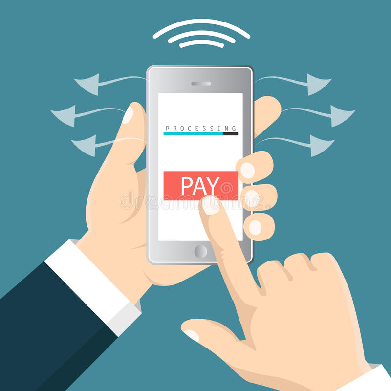 Mobile payment concept. Hand holding a phone. Smartphone wireless money transfer. Flat design. Vector illustration royalty free illustration