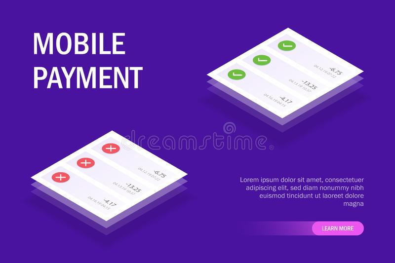 Mobile payment concept mobile ui. Pop-up notifications with successful and unsuccessful payment. Editable isometric stock illustration