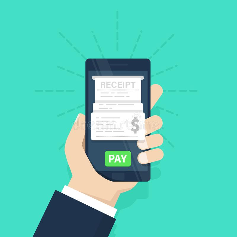 Mobile payment concept. Receipt. Pay bills on line. Internet banking. Using a mobile phone to bank and shop on line. Flat design, vector illustration on vector illustration