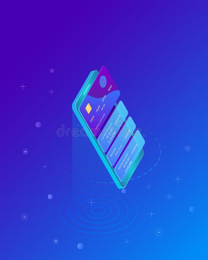 Virtual credit card pay online. Isometric smart phone and internet banking. E-commerce payment security transaction via prepaid card. Marketing concept. Money royalty free illustration