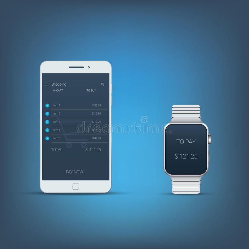 Mobile payment concept user interface with. Smartphone and smartwatch. Nfc technology symbols. Modern technologies devices. Eps10 vector illustration stock illustration