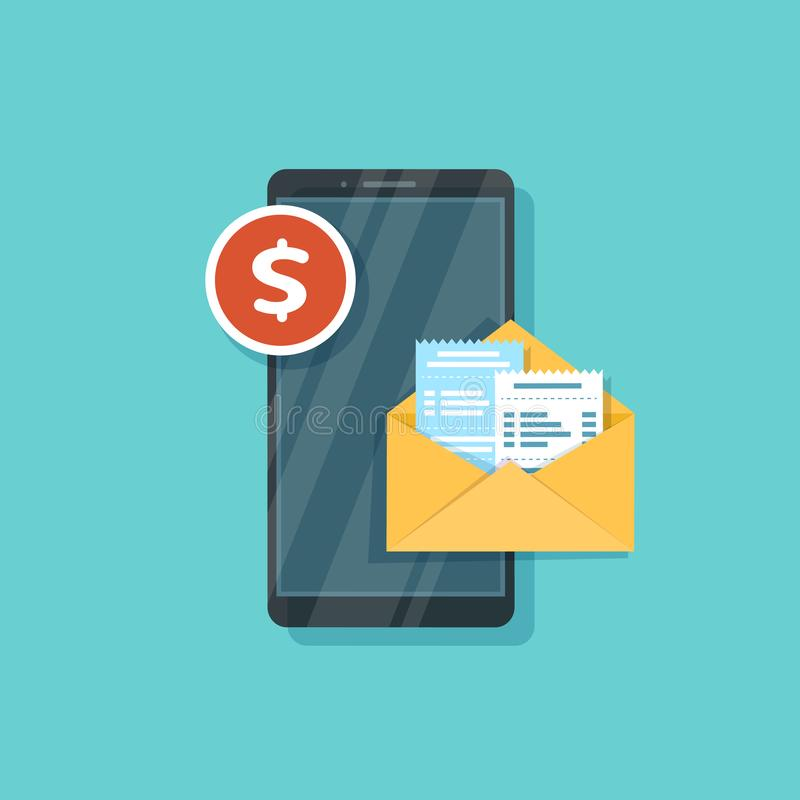 Mobile Payment for goods, services, shopping using smartphone. Payment Message. Online banking, pay with phone. Checks, bills,. Invoices in an open envelope on royalty free illustration