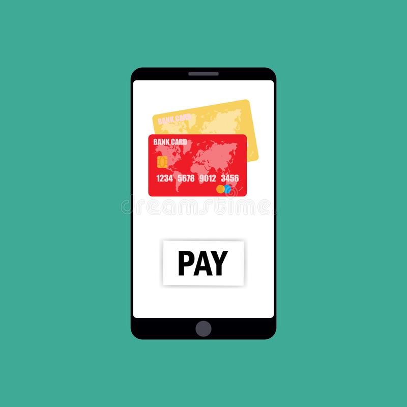 Mobile Payment for goods, services, shopping using smartphone. Online banking, pay with phone. Credit card on screen, button pay royalty free stock image