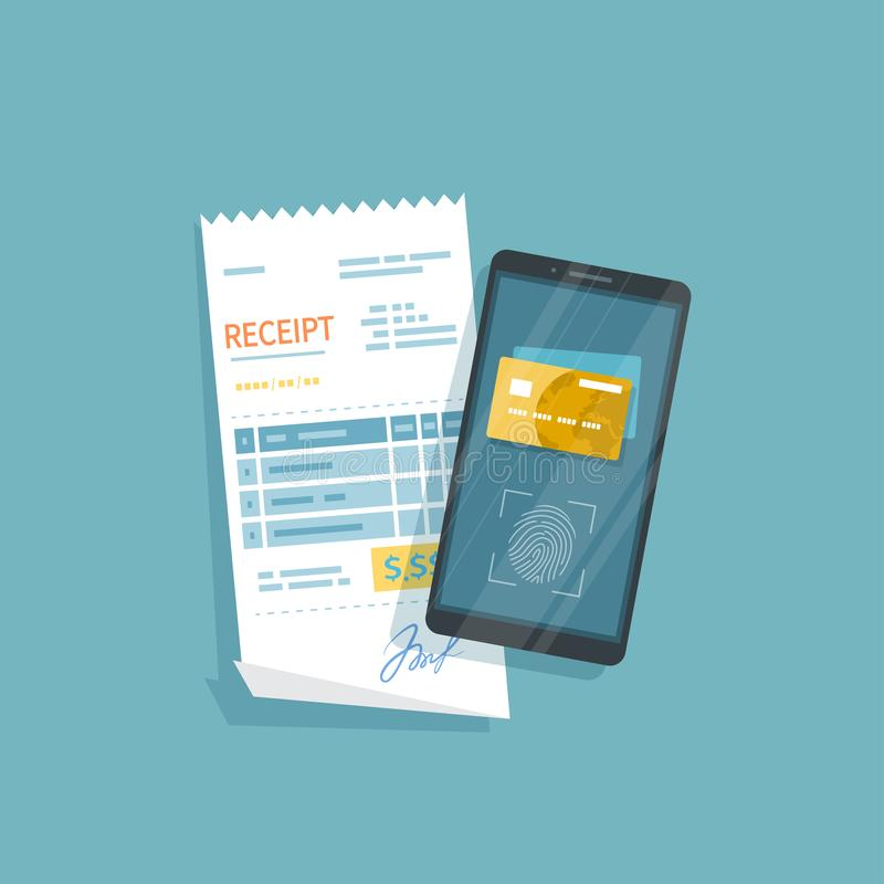 Mobile Payment for goods, services, shopping using smartphone. Online banking, pay with phone. Fingerprint identity sensor royalty free illustration