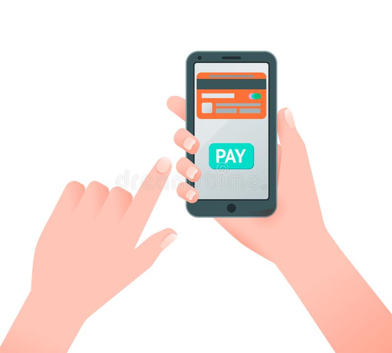 Flat vector illustration of hand holding smartphone with credit card on screen. Isolated background royalty free stock photos