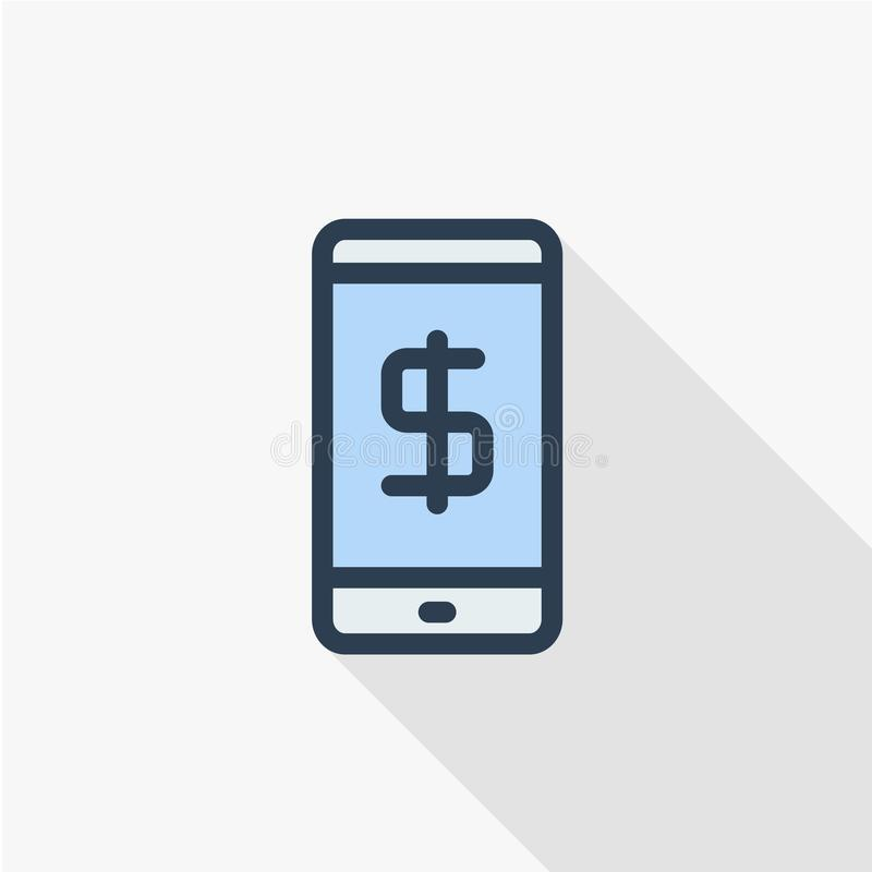 Free Mobile Payment Internet Banking, Web Pay Thin Line Flat Icon. Linear Vector Symbol Colorful Long Shadow Design. Stock Photo - 109025440