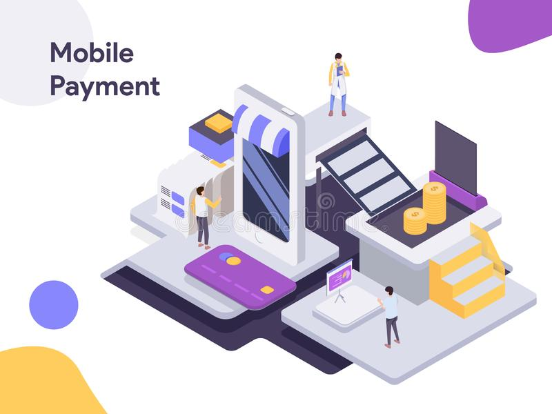 Mobile Payment Isometric Illustration. Modern flat design style for website and mobile website.Vector illustration vector illustration