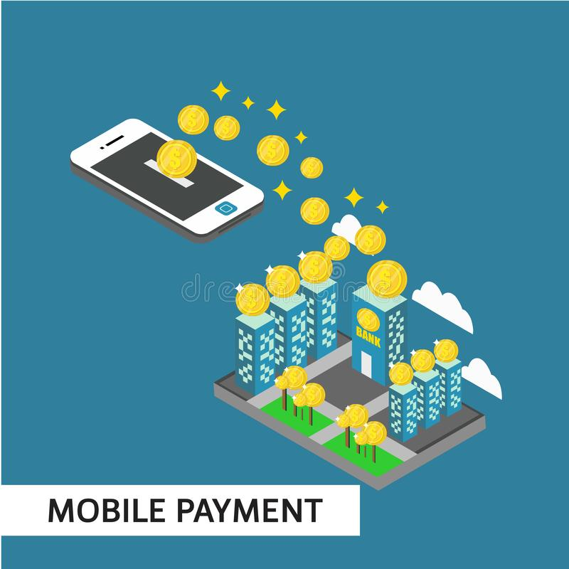 Mobile Payment Isometric Vector Template Design Illustration. Isometric payment mobile relocation online vector illustration background smartphone shopping card stock illustration
