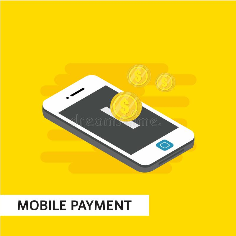 Mobile Payment Isometric Vector Template Design Illustration. Isometric payment mobile relocation online vector illustration background smartphone shopping card vector illustration