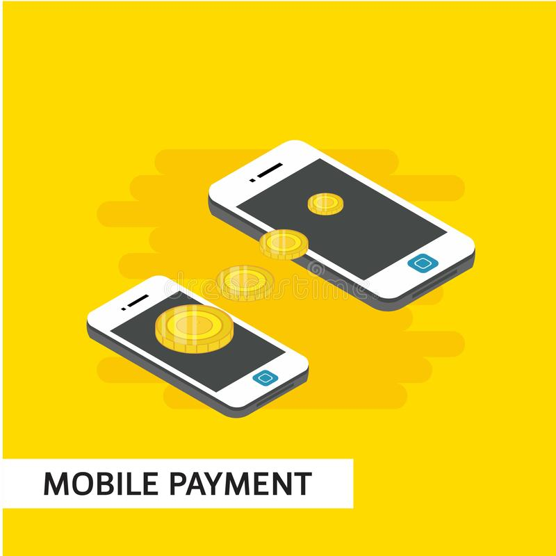 Mobile Payment Isometric Vector Template Design Illustration. Isometric payment mobile relocation online vector illustration background smartphone shopping card royalty free illustration