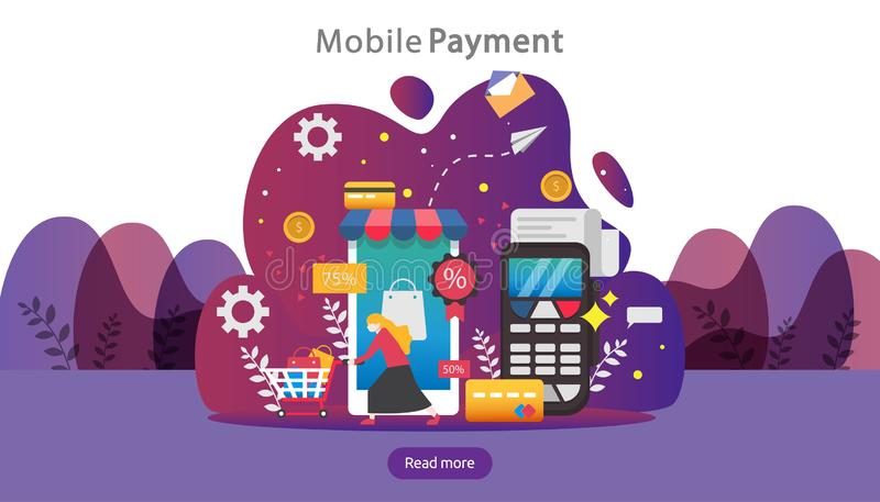 Mobile payment or money transfer concept. E-commerce market shopping online illustration with tiny people character. template for. Web landing page, banner royalty free illustration