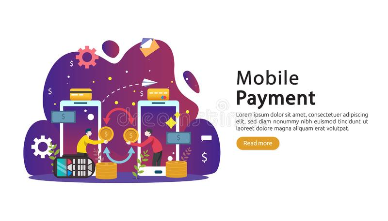 Mobile payment or money transfer concept. E-commerce market shopping online illustration with tiny people character. template for. Web landing page, banner stock illustration