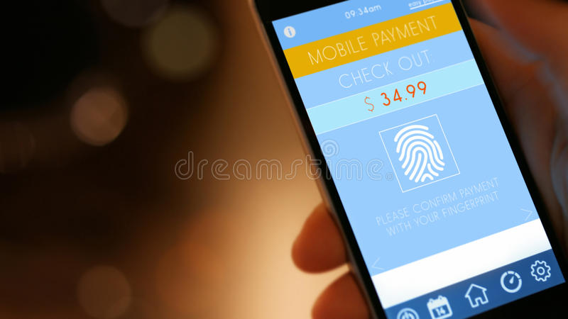 Mobile Payment with Smart Phone. Mobile Payment, smart pay - man holding a phone with contactless pay wallet app for smart shopping royalty free stock images