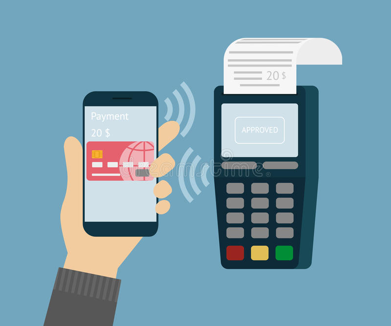 Mobile payment. Vector illustration of mobile payment via smartphone stock illustration