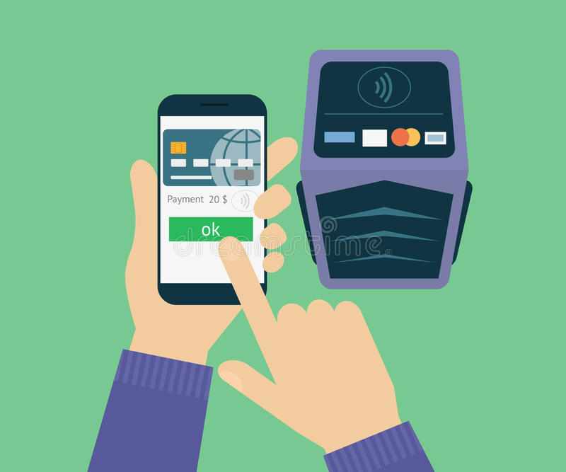 Mobile payment. Vector illustration of mobile payment via smartphone royalty free illustration