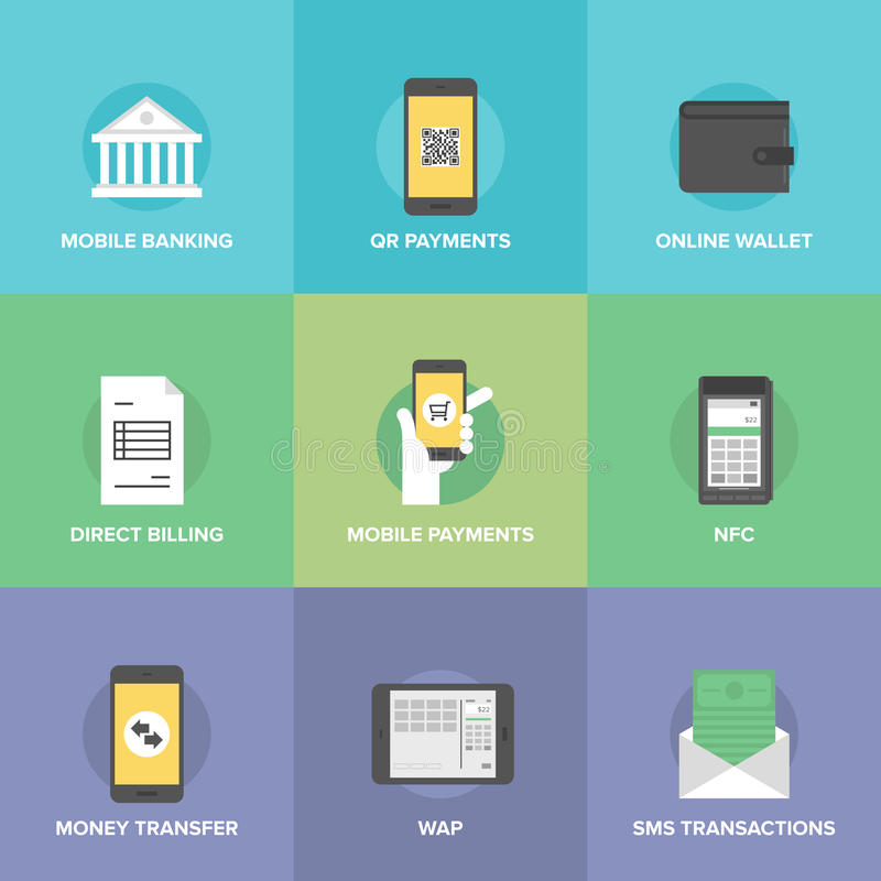 Mobile payments flat icons set royalty free illustration