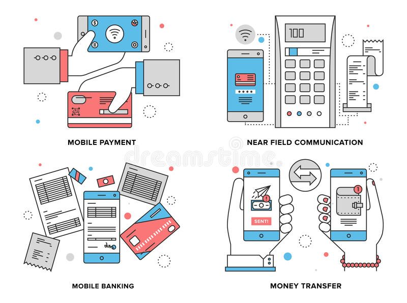 Mobile payments flat line illustration. Flat line illustration set of mobile payment process, wireless money transfer via near field communication, online stock illustration