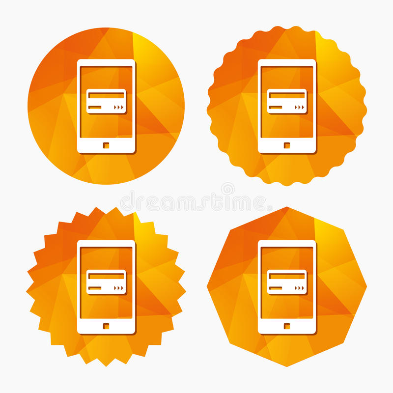 Mobile payments icon. Smartphone with card. Mobile payments icon. Smartphone with credit card symbol. Triangular low poly buttons with flat icon. Vector royalty free illustration