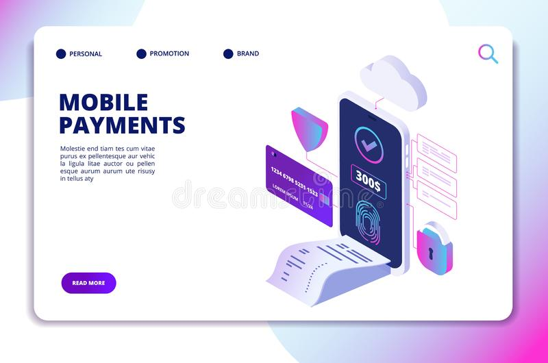 Mobile payments isometric concept. Online secure payment smartphone app. Banking internet shopping technology vector royalty free illustration