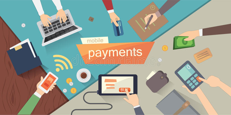 Mobile payments vector illustration. mobile banking or online banking. Human hands. Overhead. colorful set. stock photos