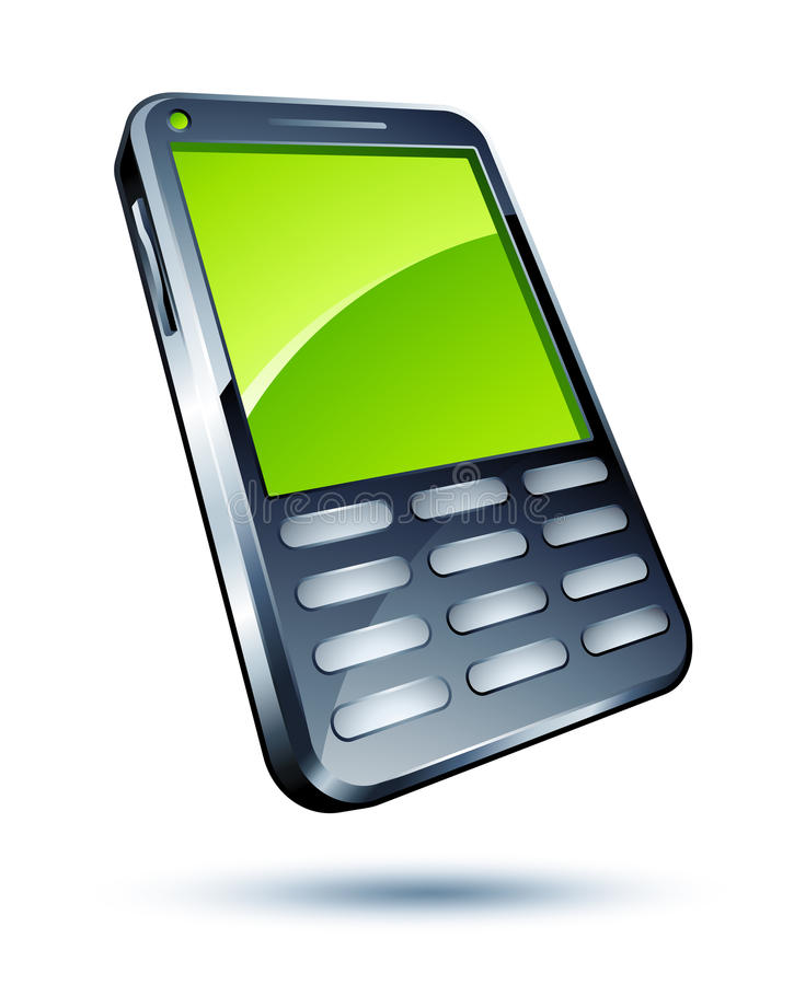 Mobile phone. With a green lcd screen clipart illustration