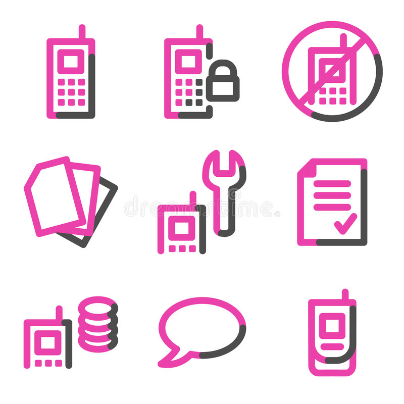 Download Mobile Phone 2 Web Icons, Pink Contour Series Royalty Free Stock Image - Image: 8581616