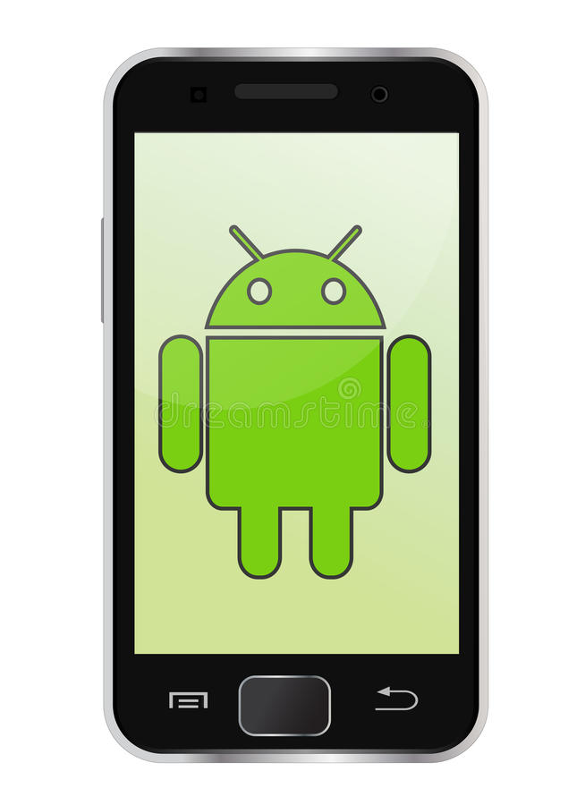 Mobile phone. Android smartphone with the Android logo displayed on the screen. An additional Vector .Eps file available. ( you can use elements separately