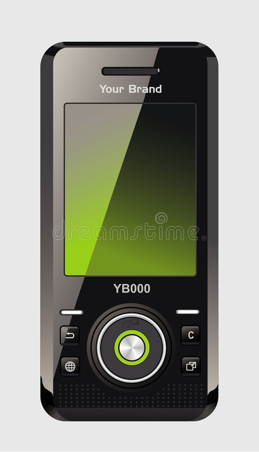 Mobile Phone. Photo-realistic black mobile phone isolated on background. Vector illustration vector illustration
