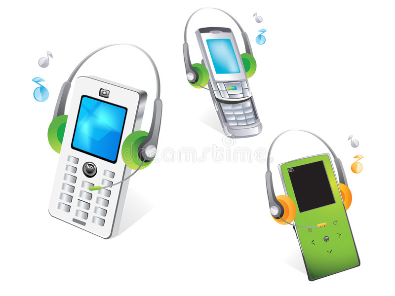Mobile phone. Vector drawing of isolated mobile phone or cell phone,headphones stock illustration