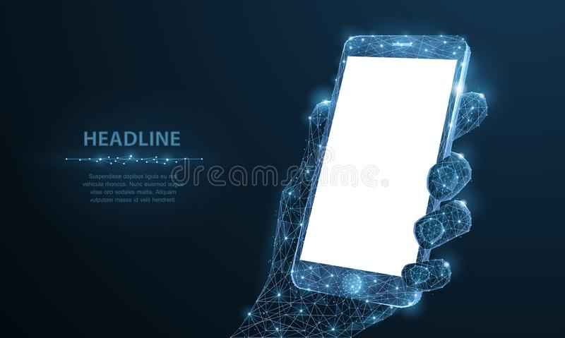 Mobile phone. Abstract polygonal wireframe closeup mobile phone with blank white empty screen in holding man hand and. Fingers. Illustration dark blue stock illustration