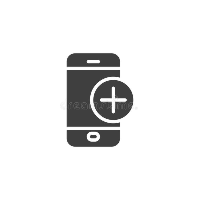 Mobile phone with add sign vector icon. Filled flat sign for mobile concept and web design. Smartphone plus glyph icon. Symbol, logo illustration. Vector stock illustration