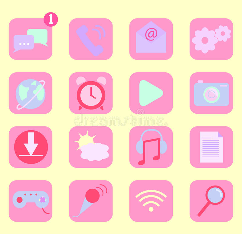 Mobile phone app icons stock illustration