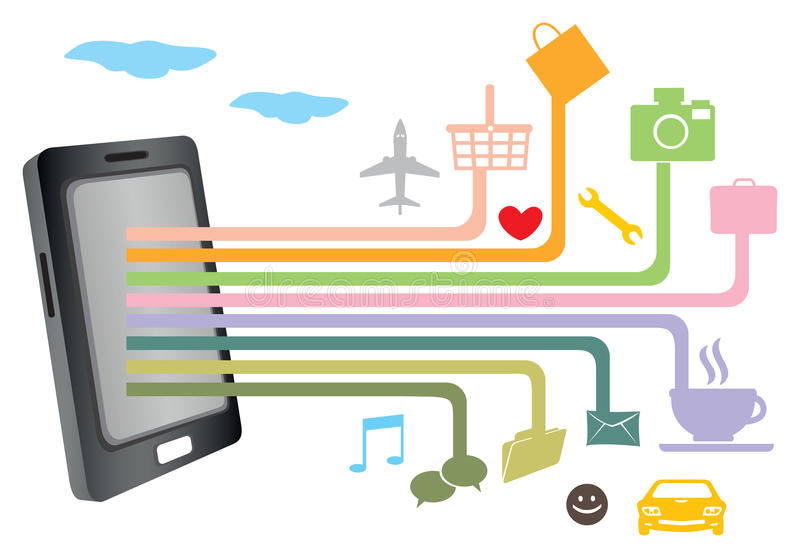 Mobile Phone Application Software and Network Technology Vector. Smart phone with network connections to different web icons for internet applications. Vector stock illustration